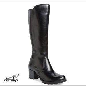 Dansko Ashby Antiqued Black Leather Tall Boots 41